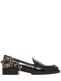 N°21 - 30MM JEWELED BRUSHED LEATHER LOAFERS - LUISAVIAROMA - LUXURY SHOPPING WORLDWIDE SHIPPING - FLORENCE