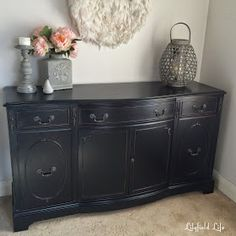 How to paint furniture black like a boss is part of Painted furniture Black - How to paint furniture black sideboard makeover by Lilyfield Life Black Painted Furniture, Cherry Furniture, Bedroom Furniture Makeover, Painted Bedroom Furniture, Chalk Paint Furniture, Furniture Layout, Repurposed Furniture, Furniture Projects, Rustic Furniture
