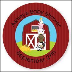 Farm Animals - 24 Round Personalized Baby Shower Sticker Labels  #farmanimals #party