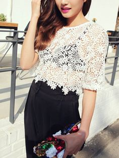 ao with <3 / White Sun Flower Crochet Lace Crop Top