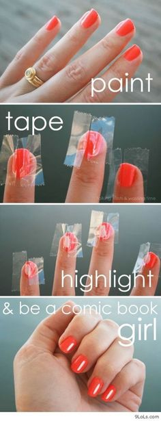Comic book girl-highlighted nails