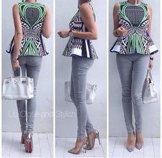 Peplum over bump - smart casual maternity look. ~African fashion, Ankara, kitenge, African women dresses, African prints, African men's fashion, Nigerian style, Ghanaian fashion ~DKK
