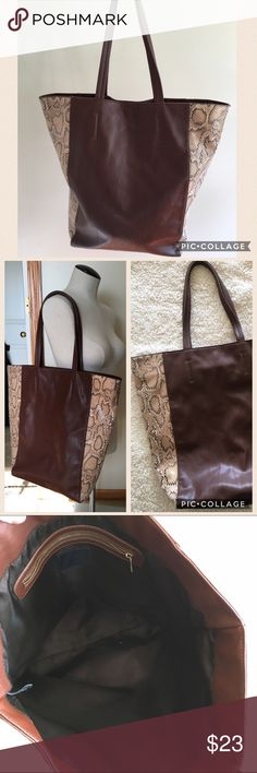 ⭐️Deal of the day! FREE GIFT W/ PURCHASE⭐️ Large Brown SnakeSkin Tote olli Bags Totes