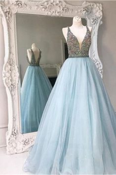 Sequins prom dress, ball gown, cute blue tulle long prom dress with straps