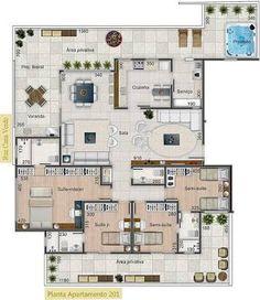 Resultado de imagem para apartamento alto padrao planta