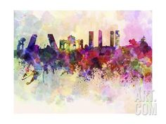 Madrid Skyline in Watercolor Background Art Print by paulrommer at Art.com