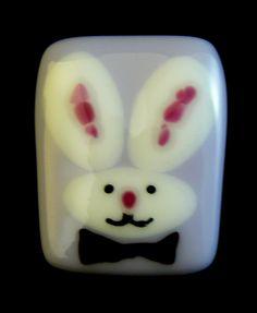@Deniseclenney #Bunny #Pin in Fused #Glass DLC Glass Studio LLC #handmade #thecraftstar $15.00