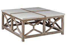Imagine the eye-catching touch you'll add to your home with this unique Catali Ivory Limestone & Java Wood Square Coffee Table. This stylish handcrafted table Plywood Furniture, Table Furniture, Living Room Furniture, Coastal Furniture, Whitewash Furniture, Living Rooms, Window Furniture, House Furniture, Coastal Decor
