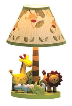 Lambs and Ivy zoofari lamp, nursery set, nursery room, room decor