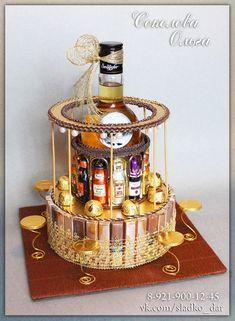 Liquor Bouquet, Candy Bouquet, Wedding Gift Wrapping, Wedding Gifts, Diy Birthday, Birthday Gifts, Craft Gifts, Diy Gifts, Candy Sleigh