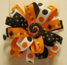 Girls Halloween pinwheel bow french by heartfeltexpressions, $5.00