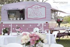 Perfect idea for an outdoor wedding - Sweet Jane's Travellling Teahouse.