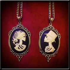 Ivory Skeleton Lady Cameo Necklace // Day of the Dead by horribell
