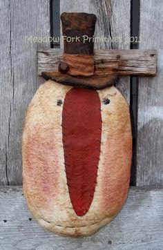 OOAK Primitive Folk Art Grungy Snowman Head by MeadowForkPrims, $18.95