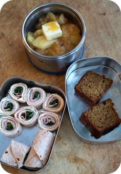 """Easy lunch box ideas: banana bread; applesauce with butter and honey; and ham and basil """"sushi"""" on a whole-wheat tortilla. http://www.LunchB..."""