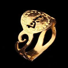Kabbalah small spiral gold ring - size 8  By Kelka Jewelry