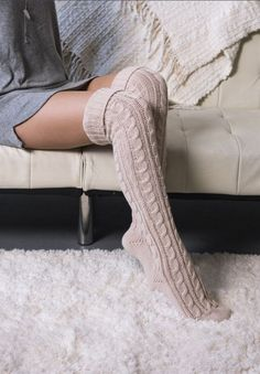 Socks Cable Knit Over the Knee Socks Experience warmth like you can& imagine in our Women& Acrylic Over the Knee Boot Socks. This style has a ribbed cuff that can be worn all the way up or cuffed down over your leg or over your boot. Over The Knee Boot Outfit, Over Knee Socks, Thigh High Socks, Thigh Highs, Knee Socks Outfits, Long Socks Outfit, Sock Boots Outfit, Boot Outfits, Long Black Socks