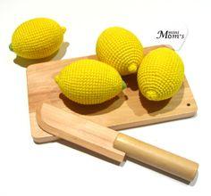 1 Pcs Crochet lemon teether teeth play food kitchen от MiniMoms, $5.00