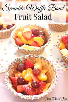 "Sprinkle Waffle Bowl Fruit Salad! Perfect for baby showers, birthday parties and playdates! Plan an adorable Baby Sprinkle! Find tips and inspiration for planning an amazing baby shower ""sprinkle"" for mom-to-be! Grab my FREE planning printables, FREE banner printables and sign up for my eCourse where you can plan a baby shower in 5 days with any budget and no crafting experience!"