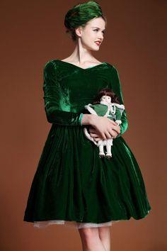 "ROMWE | ""Bowknot Flouncing"" Green Autumn Dress, The Latest Street Fashion"