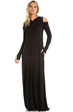 Elan Cold-Shoulder Hoodie Knit Maxi Dress
