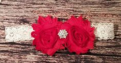 Baby Girl Headband! Red Flowers and Red Rhinestone On White Lace! Beautiful / Christmas / Newborn / Infant / Toddler / Girls / Bow / Hair