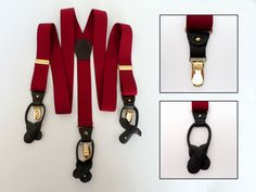 Convertible Button Braces Clip Suspenders, Red Stretch Elastic, Black Leather, Pelican Gold Trim, Grooms Wear, Mens Accessories ID 487032103 by LaBelleBelts on Etsy