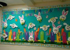 Ocean Life classroom Board Ideas | Happy Easter Student Artwork Bulletin Board - MyClassroomIdeas.com