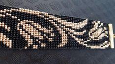 Black & gold bead loom bracelet with lilys Bead Loom Bracelets, Diy Crafts Hacks, Loom Beading, Beaded Flowers, Gold Beads, Black Gold, Lily, Trending Outfits, Unique Jewelry