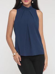 #AdoreWe #FashionMia sleeveless T-shirts - FashionMia Concise Band Collar Sleeveless T-shirt - AdoreWe.com