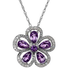 Lord & Taylor Amethyst, Diamond and Sterling Silver Pendant Necklace (265 CAD) ❤ liked on Polyvore featuring jewelry, necklaces, purple, amethyst stone necklace, sterling silver jewelry, purple pendant necklace, amethyst jewelry and diamond necklaces
