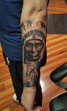 Another Native American Piece Indian Chief Tattoo, Native Indian Tattoos, Indian Skull Tattoos, Native American Tattoos, Cool Forearm Tattoos, Top Tattoos, Badass Tattoos, Sleeve Tattoos, Tattoo Indio