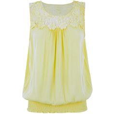 Brave Soul Yellow Crochet Trim Sleeveless Top ($13) ❤ liked on Polyvore featuring tops, yellow, beige top, yellow top, sleeveless tank, yellow tank top and strappy tank