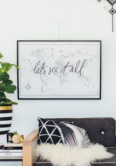 wanderlust quadros Lets See It All World Map 3 All World Map, World Map Decor, World Map Art, World Map Poster, World Map Painting, Desenio Posters, Travel Wall, Travel Gallery Wall, Bedroom Decor