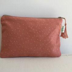 Trousse à maquillage/pochette en coton rose