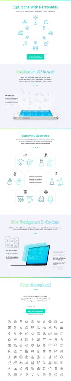 Lovely pairing of the angular Brooklyn Font with this free set of angular-style icons called 'Ego Icons'. Great looking set this.