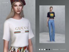 Gucci Print Tshirt for The Sims 4 - Gucci Shirt - Trending Gucci Shirt for sales. - - Gucci Print Tshirt for The Sims 4 Sims 4 Cas, Sims Cc, My Sims, Jeans Gucci, Gucci Shirts, Gucci Gucci, Sims 4 Cc Kids Clothing, Sims4 Clothes, Sims 4 Dresses