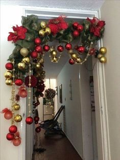 Christmas Arch Decorations Decoration For Entrance Room And . - Life with Alyda Christmas Arch, Gold Christmas, Rustic Christmas, Simple Christmas, Christmas Holidays, Christmas Wreaths, Christmas Ornaments, Primitive Christmas, Christmas Christmas