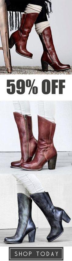 buy popular edb91 6a2cf Judedress Leather Vintage Plus Size Zipper Heeled Boots Hvordan Man Bærer  Leggings, Denim Fashion,