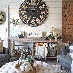 farmhouse decor, clock, DIY scroll, sitting room ideas, shiplap wall, fall table, fall home decor