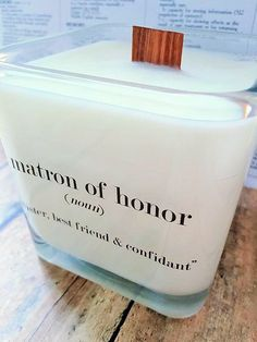 NEW Matron of Honor Soy Candle Bridal Gift by VintageCreated