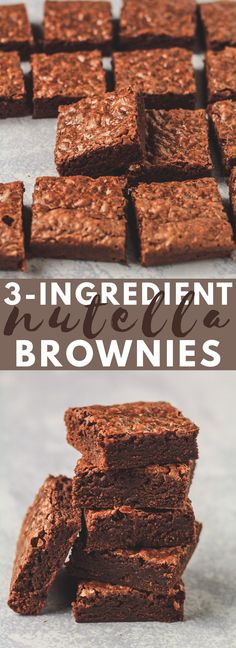 Easy 3 Ingredient Nutella Brownies - Deliciously thick and fudgy brownies that are LOADED with Nutella flavour, and made from only 3 simple ingredients. The BEST easy brownie recipe! These rich, deeply chocolatey Nutella Brownies are a ho Nutella Fudge, 3 Ingredient Nutella Brownies, 3 Ingredient Cakes, Köstliche Desserts, Homemade Desserts, Delicious Desserts, Dessert Recipes, Desserts Nutella, Dinner Recipes