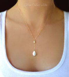 Collier de perles d'eau douce collier Y perle par GlassPalaceArts