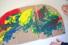 Homemade Puffy Paint Rainbows- love the idea of cutting the rainbow shape on the cardboard