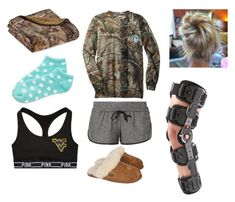 """""""Tore my acl at soccer practice so i have to wear that bulky knee brace"""" by preppysoccergirl07 ❤ liked on Polyvore featuring Realtree, NIKE, Aéropostale and UGG Australia"""