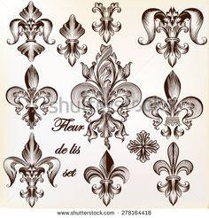 Collection of vector royal fleur de lis for design - stock vector
