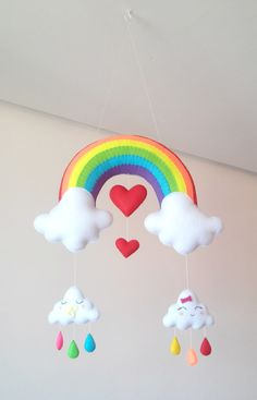 Best 12 Baby mobile Rainbow Clouds mobile Moon mobile Sun by minimezShop – SkillOfKing. Felt Crafts, Diy And Crafts, Crafts For Kids, Diy Bebe, Baby Shawer, Rainbow Crafts, Hanging Mobile, Felt Decorations, Felt Patterns