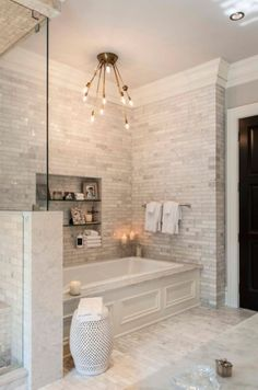 Tub and shower sharing half height wall