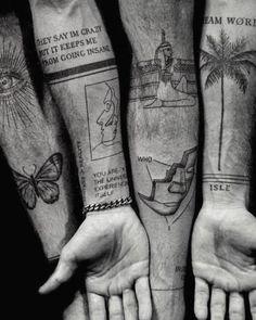 Tattoos Arm Mann, Arm Tattoos For Guys, Forearm Tattoos, Thigh Tattoo Men, Black Ink Tattoos, Small Tattoos, Cool Tattoos, Tattoo Band, Freundin Tattoos