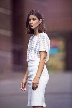 Summer In the City - Guest Photographer - Zanita featuring Harper and Harley shoulder length hair Medium Hair Styles, Short Hair Styles, White Outfit For Men, Looks Street Style, My Hairstyle, Decent Hairstyle, Pinterest Hair, Mode Inspiration, Summer Hairstyles